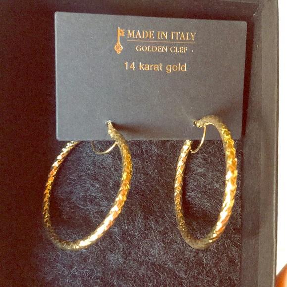 78046ec1ce8e7 Huge solid 14k yellow gold hoop earrings new NWT